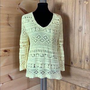 Jones New York Country yellow crochet sweater M